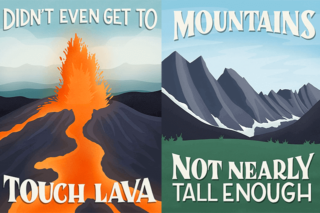 Artist Creates Posters Of US National Parks Based On Bad Internet Reviews And They are Amazing