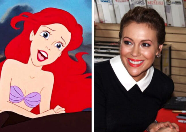 Disney character Ariel in Little Mermaid real life Alyssa Milano